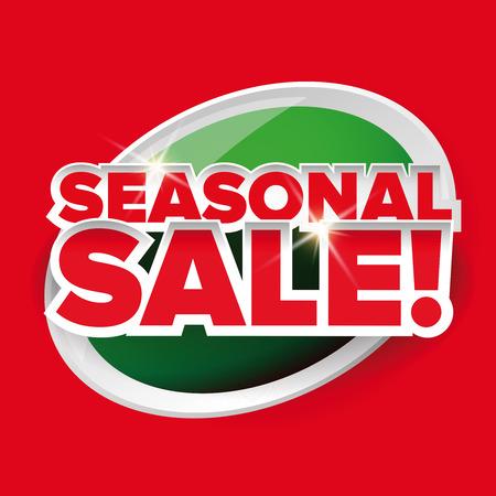 seasonal: Seasonal sale button vector red lettering Illustration