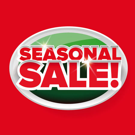 seasonal: Seasonal sale button vector red lettering Illustration