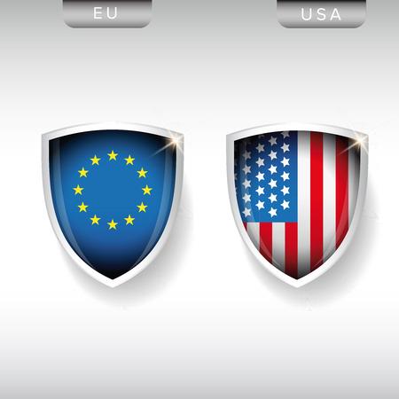 us flag: EU and USA flags shield vector
