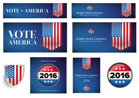 presidential: USA presidential election set 2016 vector banner
