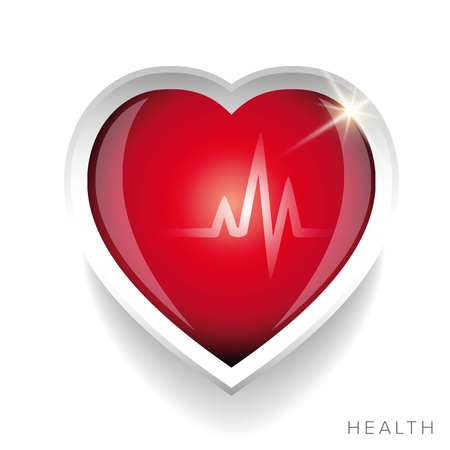 Cardiogram and red heart vector