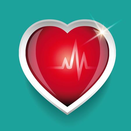 cardioid: Cardiograma y rojo del vector del corazón Vectores