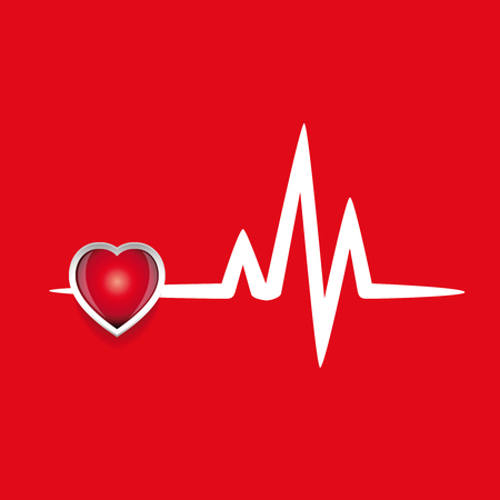 electrocardiograph: Cardiogram and red heart vector
