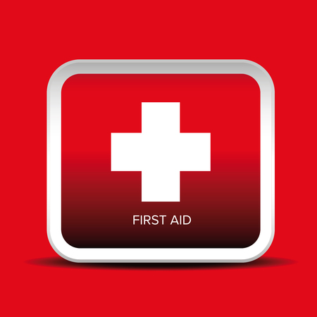 First aid icon vector button Illustration