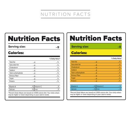 栄養物の事実のラベル ベクトル色