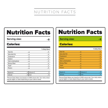 Nutrition Facts label vector color Illustration
