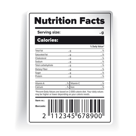 Nutrition Facts label with barcode