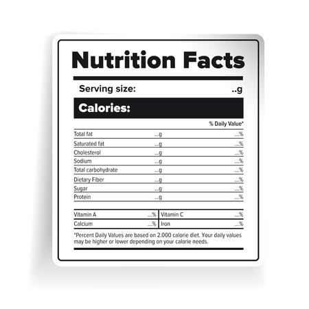 栄養物の事実のラベル ベクトル