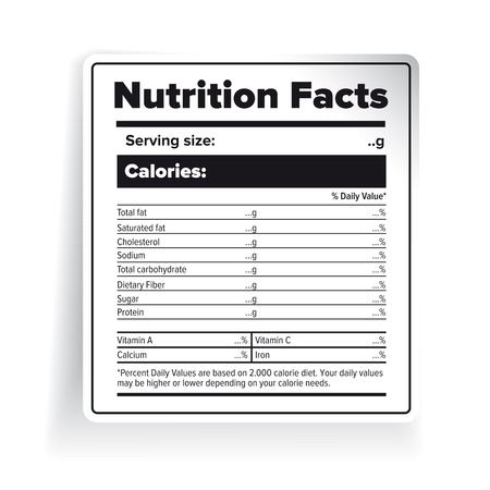table sizes: Nutrition Facts label vector