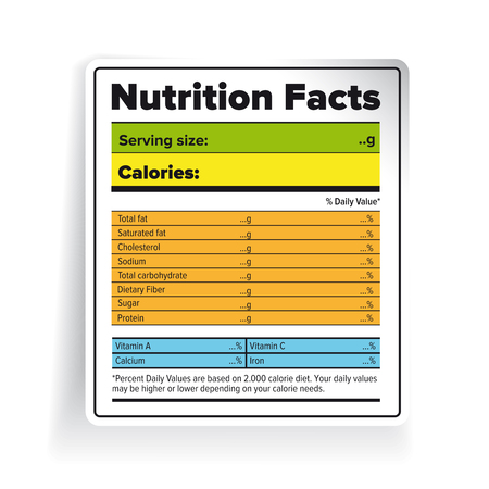table sizes: Nutrition Facts label vector color Illustration