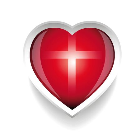 christian cross and wings: Heart with cross church Illustration