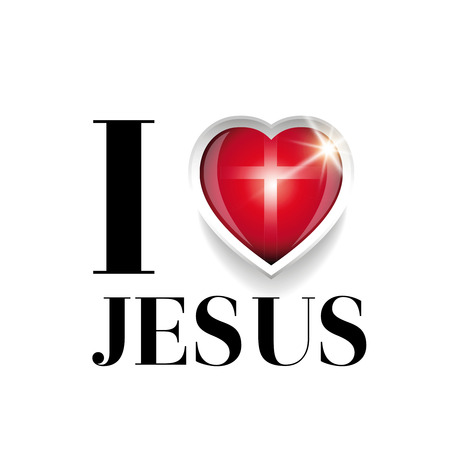 I love Jesus vector with cross Illustration