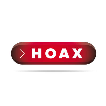hoax: Internet Hoax warning button vector Illustration