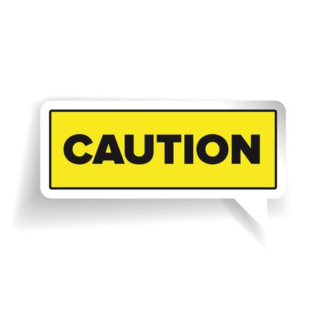 yellow beware: Caution sign label vector