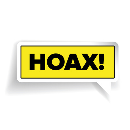 hoax: Internet Hoax warning label vector