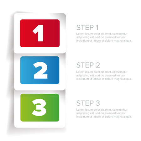 progress steps: One two three - progress steps vector label