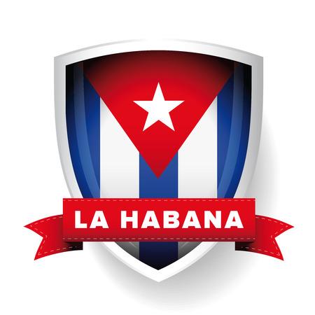 havana: Havana, La Habana, Cuba flag vector