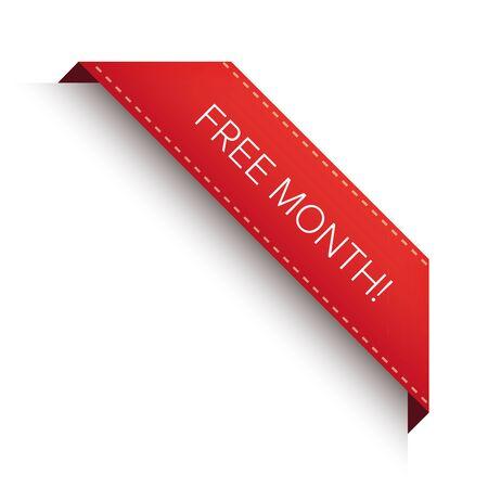 month: Free month corner ribbon