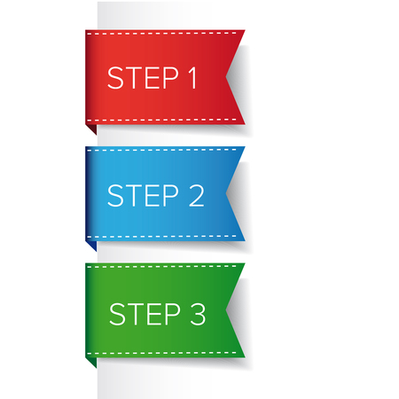 Step one two three bookmark ribbon -  progress vector Illustration