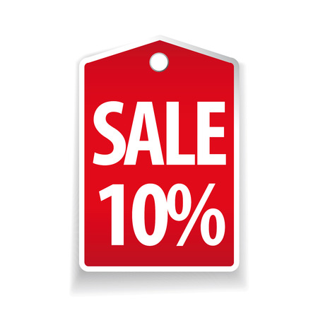 pricetag: Sale ten percent pricetag red vector