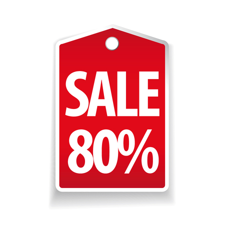 pricetag: Sale eighty percent pricetag red vector Illustration