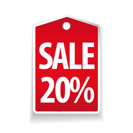 pricetag: Sale twenty percent pricetag red vector Illustration