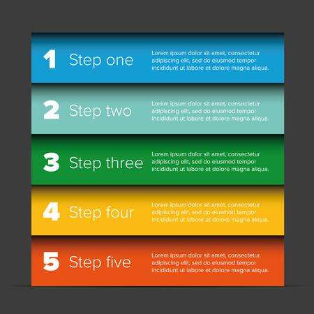 1 つ 2 つ 3 つ 4 つ 5 つのステップの進行状況バー  イラスト・ベクター素材