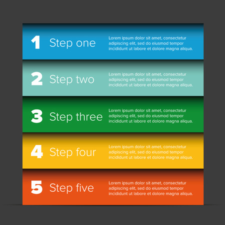One two three four five steps progress bar Illustration