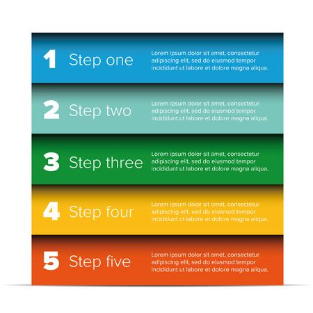 bar one: One two three four five steps progress bar Illustration