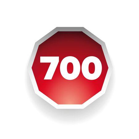 hundred: Number seven hundred vector label red