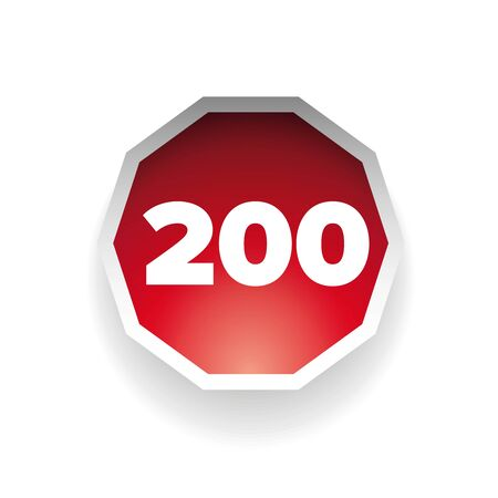 hundred: Number two hundred vector label red