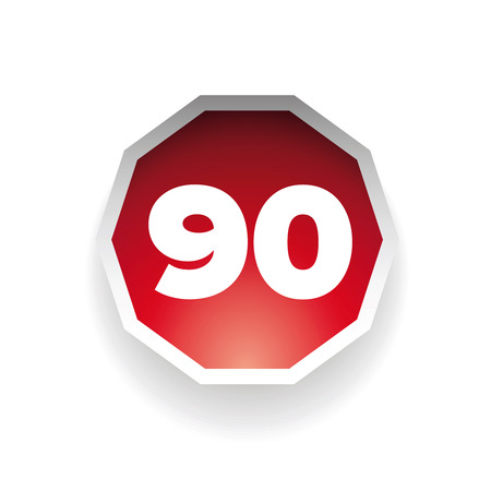 ninety: Number ninety vector label red