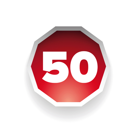 fifty: Number fifty vector label red