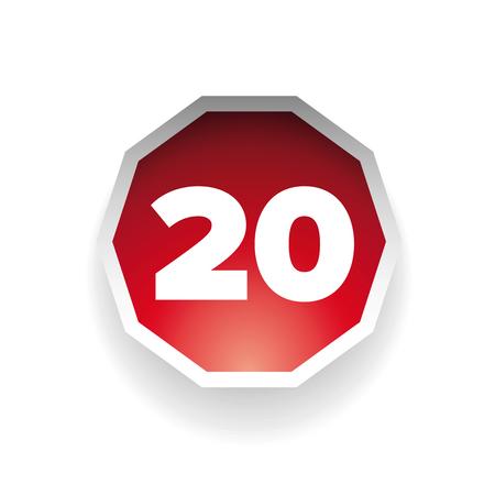 twenty: Number twenty vector label red Illustration