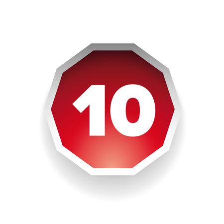 number ten: El n�mero diez vector etiqueta roja Vectores