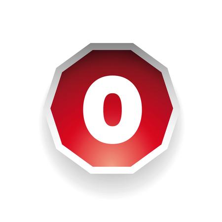 number zero: Number zero vector label red