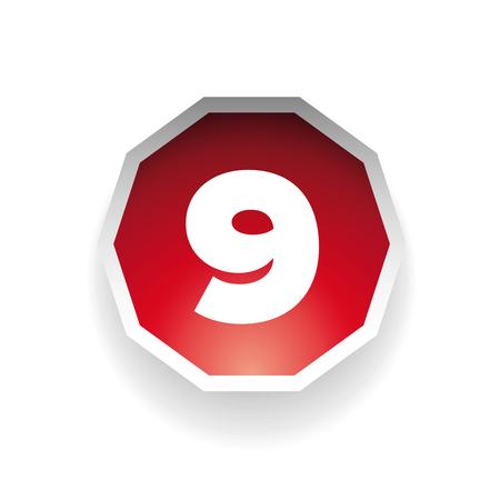 number nine: Number nine vector label red Illustration