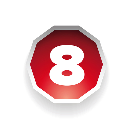 number eight: Number eight vector label red Illustration