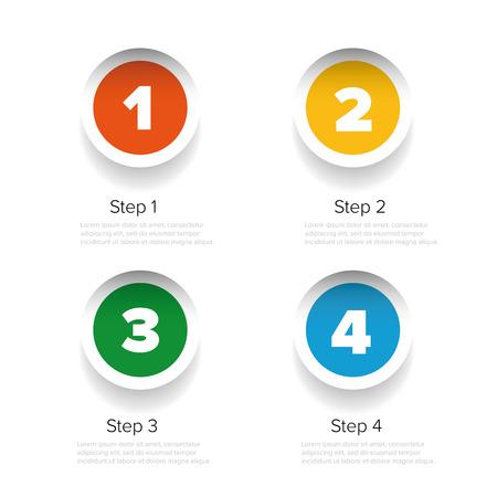 uno: Uno dos tres cuatro pegatinas barra de progreso Vectores