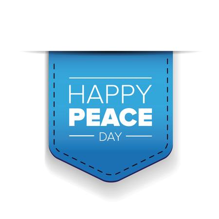 peace day: Happy Peace day blue ribbon