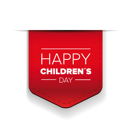 Happy Childrens day red ribbon