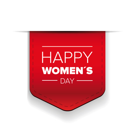 Happy womens day red ribbon