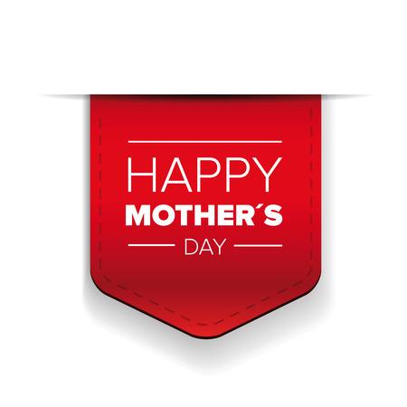 Ruban rouge de la fête des mères heureuses