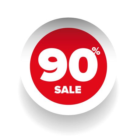 cut away: 3D sale tag ninety percent vector
