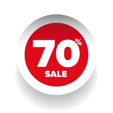 give away shop: 3D sale tag seventy percent vector Illustration