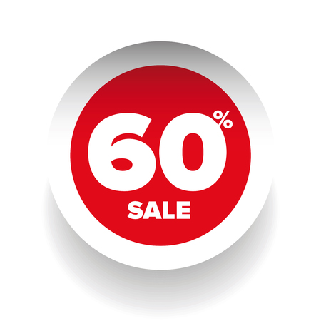 give away shop: 3D sale tag sixty percent vector