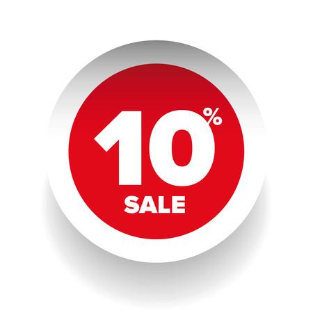 give away: 3D sale tag ten percent vector Illustration