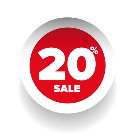 twenty: 3D sale tag twenty percent vector Illustration