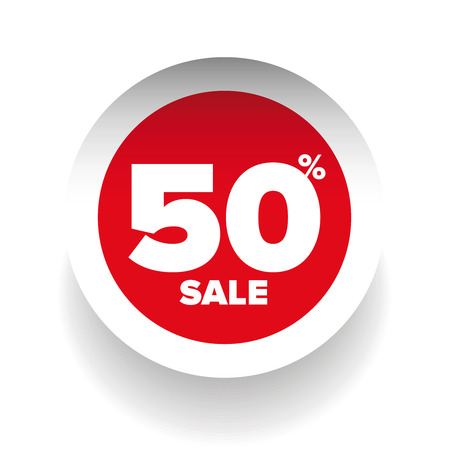 cut away: 3D sale tag fifty percent vector Illustration