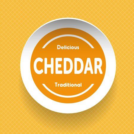 cheddar: Cheddar Cheese label vector Illustration